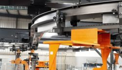 KUKA BOLT is an overhead linear conveyor system. © KUKA